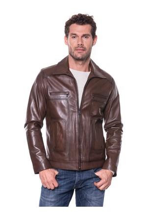 İparelde E68 Kahverengi Erkek Deri Ceket