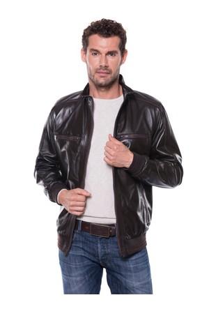 İparelde E5543H Erkek Kahverengi Deri Ceket