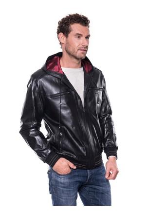 İparelde E5543 Siyah Erkek Deri Ceket