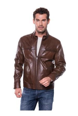 İparelde E5294 Kahverengi Erkek Deri Ceket