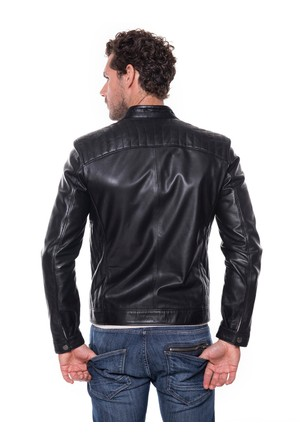 İparelde E454 Siyah Erkek Deri Ceket