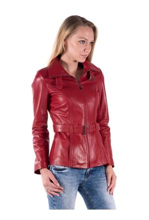 İparelde BAZRA Kırmızı Bayan Deri Ceket