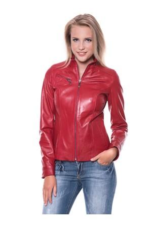 İparelde B94 Kırmızı Bayan Deri Ceket