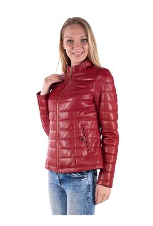 İparelde B8489 Kırmızı Bayan Şişme Deri Mont