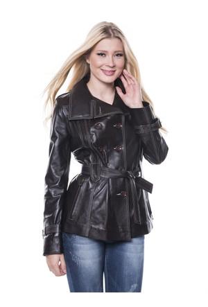 İparelde B6213 Bayan Kahverengi Deri Ceket