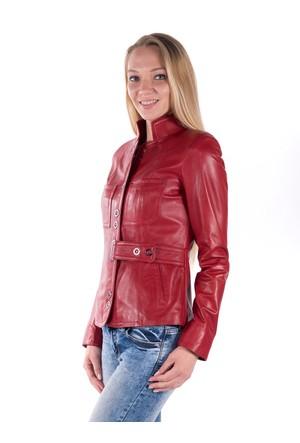 İparelde B52 Kırmızı Bayan Deri Ceket