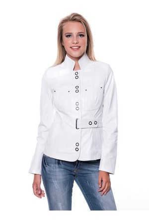 İparelde B52 Beyaz Bayan Deri Ceket