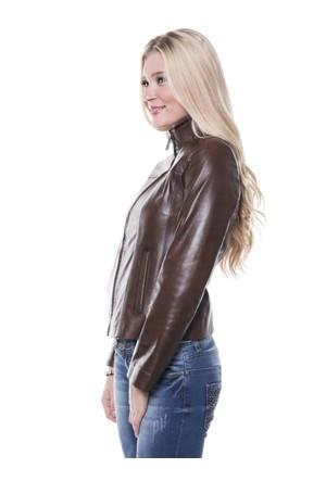 İparelde B4057 Kahverengi Bayan Deri Ceket