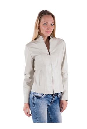 İparelde B4057 Bej Bayan Deri Ceket