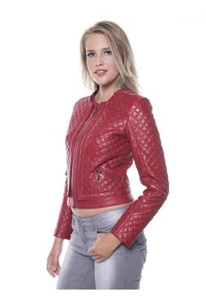 İparelde B103 Kırmızı Bayan Deri Ceket