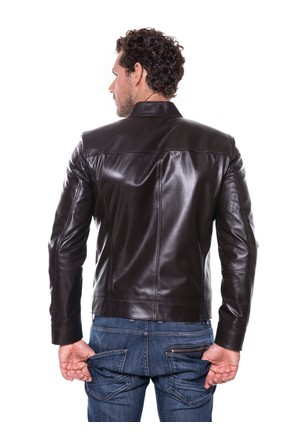 İparelde E88 Erkek Koyu Kahverengi Deri Ceket