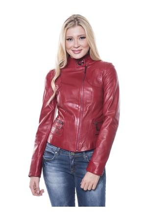İparelde B92 Kırmızı Bayan Deri Ceket