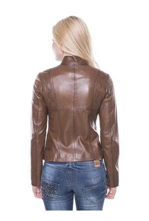 İparelde B92 Kahverengi Bayan Deri Ceket