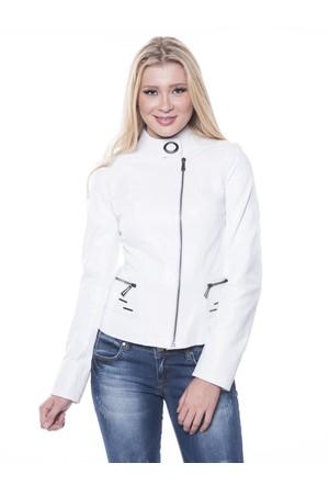 İparelde B92 Beyaz Bayan Deri Ceket