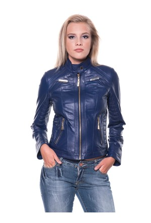 İparelde B2336 Mavi Bayan Deri Ceket