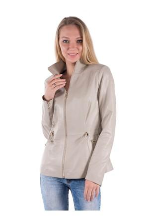 İparelde B615 Bej Bayan Deri Ceket