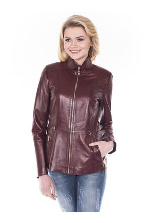 İparelde B615 Bayan Bordo Deri Ceket