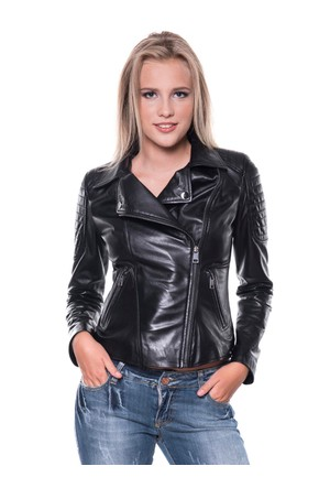 İparelde B410 Siyah Bayan Deri Ceket