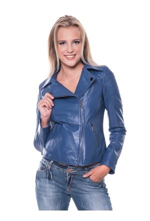 İparelde B410 Mavi Bayan Deri Ceket