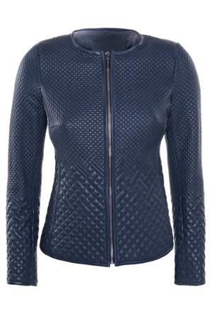 İparelde B264 Mavi Bayan Deri Ceket