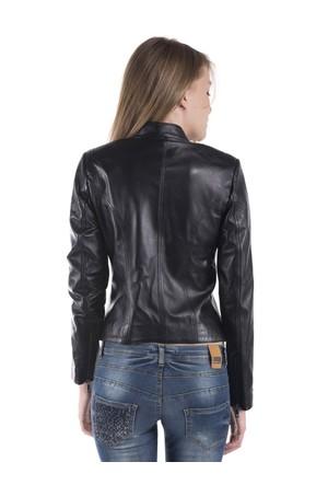 İparelde B2327 Siyah Bayan Deri Ceket