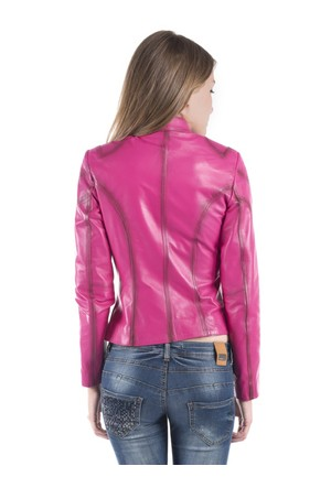 İparelde B2327 Fuşya Bayan Deri Ceket