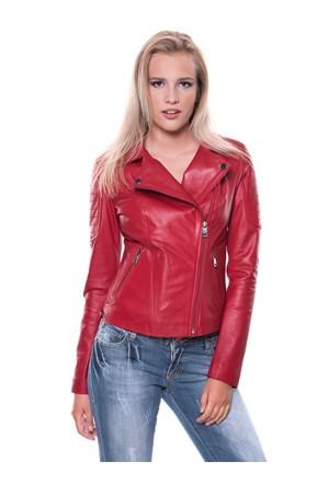 İparelde B410 Bayan Kırmızı Deri Ceket