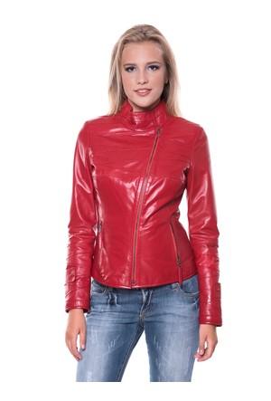 İparelde B409 Kırmızı Bayan Deri Ceket