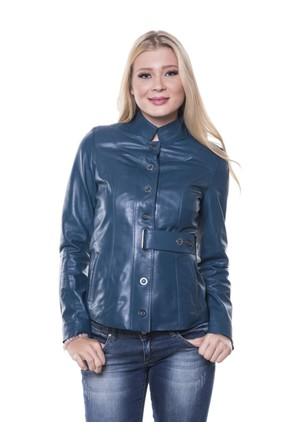 İparelde B2266 Mavi Bayan Deri Ceket