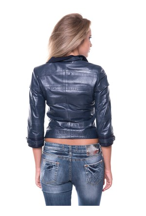 İparelde B225 Mavi Bayan Deri Ceket