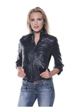 İparelde B225 Lacivert Bayan Deri Ceket