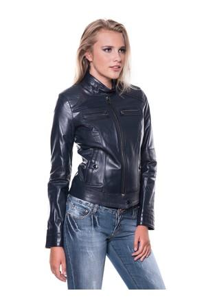 İparelde B2226 Lacivert Bayan Deri Ceket