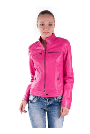 İparelde B2226 Fuşya Bayan Deri Ceket
