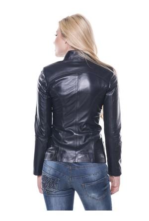 İparelde B16 Lacivert Bayan Deri Ceket