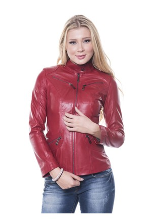 İparelde B16 Kırmızı Bayan Deri Ceket