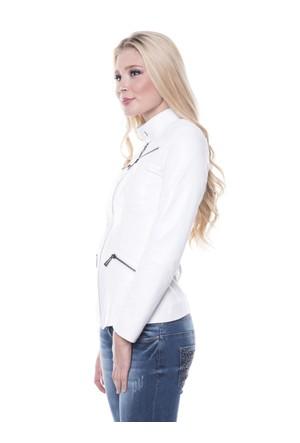 İparelde B16 Beyaz Bayan Deri Ceket