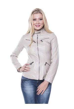İparelde B16 Bej Bayan Deri Ceket