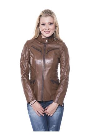 İparelde B16 Kahverengi Bayan Deri Ceket