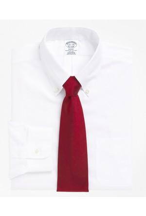 Brooks Brothers Düğmeli Yaka Slim Beyaz Gömlek