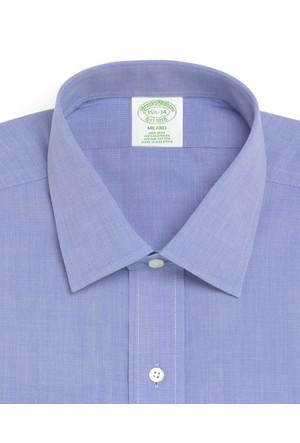 Brooks Brothers Düğmeli Yaka Ekstra Slim Mavi Gömlek
