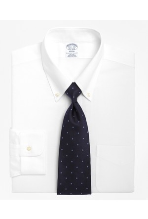 Brooks Brothers Oxfort Düğmeli Yaka Beyaz Slim Gömlek