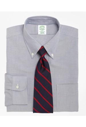 Brooks Brothers Kravat Yaka Oxford Slim Mavi Gömlek