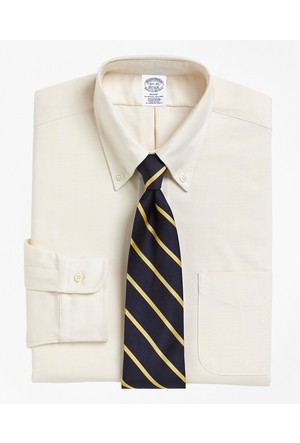 Brooks Brothers Oxford Düğmeli Yaka Krem Gömlek