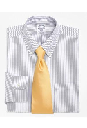Brooks Brothers Düğmeli Yaka Oxford Çizgili Mavi Gömlek