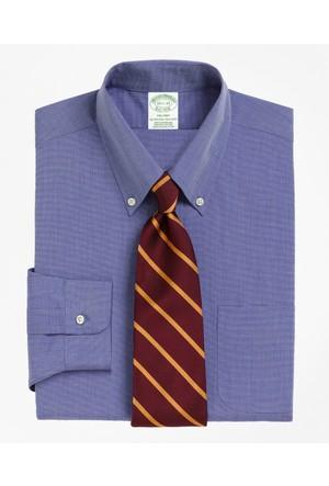Brooks Brothers Düğmeli Yaka Mavi Ekstra Slim Gömlek