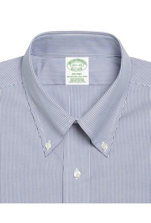 Brooks Brothers Düğmeli Yaka Çizgil Kırmızı Gömlek