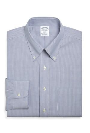 Brooks Brothers Düğmeli Yaka Çizgili Mavi Gömlek
