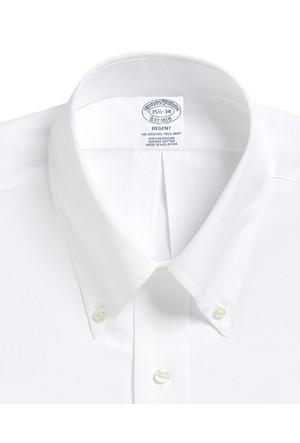 Brooks Brothers Düğmeli Yaka Slim Fit Beyaz Gömlek