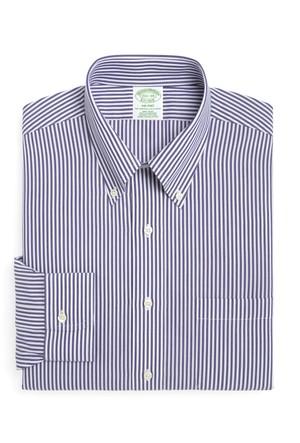 Brooks Brothers Düğmeli Yaka Milano Ekstra Slim Mavi Gömlek