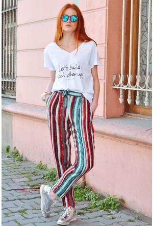 Sofistiqe Renkli Çizgili Kumaş Pantolon